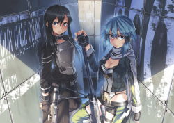 1girl anti-materiel_rifle black_eyes black_hair blue_eyes blue_hair breastplate breasts cleavage fingerless_gloves gloves gun kirito kirito_(sao-ggo) long_hair rifle scarf shinon_(sao) short_hair short_shorts shorts siqi_(miharuu) sniper_rifle sword_art_online trap weapon