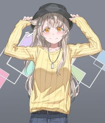 1girl adjusting_clothes adjusting_hat blush brown_hair denim hair_ribbon hat highres jeans jewelry long_hair love_live!_school_idol_project minami_kotori necklace one_side_up orange_eyes pants ribbon side_ponytail sleeves_past_wrists smile solo yohan1754