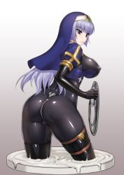 1girl ass bangs blue_eyes blush bodysuit breasts cowboy_shot elbow_gloves erect_nipples gloves grey_hair habit large_breasts latex long_hair nun original rindou_(radical_dream) shiny shiny_clothes skin_tight skindentation slime solo thighhighs thighs whip