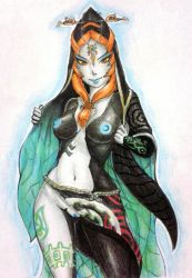 breasts looking_at_viewer midna navel orange_hair pussy red_eyes revtilian the_legend_of_zelda twili_midna twilight_princess uncensored