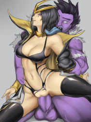 1boy 1girl black_hair black_legwear breasts cleavage collar emilia_leblanc forehead_jewel highres kumiko_(aleron) kumiko_shiba league_of_legends licking monster navel open_mouth popped_collar purple_eyes rape sex short_hair simple_background thighhighs vaginal wide_hips