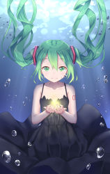 1girl black_dress bubble dress floating_hair green_eyes green_hair hatsune_miku highres ji_dao_ji light_smile long_hair looking_at_viewer shinkai_shoujo_(vocaloid) solo submerged twintails underwear vocaloid