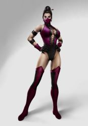 armband bare_shoulders breasts cleavage dark_skin earrings gloves hair_bun hands_on_hips jewelry leotard mask mileena mortal_kombat solo thighhighs thighs