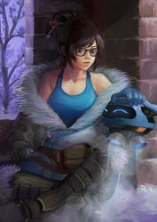 1girl against_wall black-framed_glasses blue_shirt boots breasts brick_wall brown_eyes brown_hair cleavage coat frost full_body fur_trim glasses hair_bun hair_ornament hairpin legs_crossed lips mei_(overwatch) nose off_shoulder overwatch petting phamoz shirt short_hair sitting solo tank_top