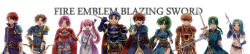 3girls 6+boys absurdres armor blue_hair book bow_(weapon) copyright_name eliwood_(fire_emblem) erk_(fire_emblem) fingerless_gloves fiora fiora_(fire_emblem) fire_emblem fire_emblem:_rekka_no_ken gloves green_eyes green_hair guy_(fire_emblem) hector hector_(fire_emblem) high_ponytail highres kent_(fire_emblem) long_hair long_image lyndis_(fire_emblem) multiple_boys multiple_girls polearm ponytail raven_(fire_emblem) serra serra_(fire_emblem) short_hair simple_background sword very_long_hair weapon wide_image wil_(fire_emblem)