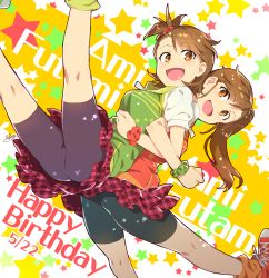 2girls :d back-to-back bike_shorts brown_eyes brown_hair character_name dated futami_ami futami_mami happy_birthday idolmaster locked_arms long_hair multiple_girls open_mouth redrop shorts_under_skirt siblings side_ponytail signature sisters skirt smile star twins