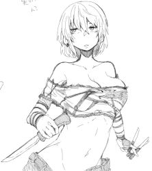 1girl bangs bare_shoulders breasts cleavage commentary_request crop_top dagger denim dual_wielding female hair_between_eyes hikage_(senran_kagura) holding holding_knife holding_weapon jeans knife large_breasts long_sleeves looking_to_the_side midriff monochrome navel open_mouth pants parted_lips quadruple_wielding senran_kagura senran_kagura_(series) short_hair simple_background sketch solo throwing_knife translation_request upper_body weapon white_background yonyon_(yotayota_honpo)