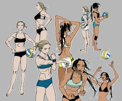 2girls abs artist_request blonde_hair blue_eyes breasts character_sheet dark_skin eyes_closed from_behind hair_bun hands_on_hips long_hair looking_at_viewer medium_breasts multiple_girls navel original ponytail small_breasts smile sports_bikini sportswear toned volleyball