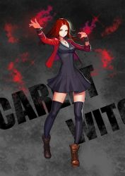1girl avengers avengers:_age_of_ultron bead_bracelet beads black_dress black_legwear boots bracelet character_name dress full_body highres jacket jewelry kim_jin_sung long_hair looking_at_viewer marvel necklace red_hair red_jacket ring scarlet_witch solo standing thighhighs wanda_maximoff zettai_ryouiki