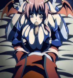 1girl animated animated_gif breast_grab breasts censored fellatio garter_belt horns huge_breasts kyonyuu_fantasy open_mouth oral paizuri penis precum red_hair shamsiel succubus wings yellow_eyes