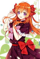 1girl :d antenna_hair bow brown_hair gekkan_shoujo_nozaki-kun hair_bow hair_ribbon highres long_hair looking_at_viewer open_mouth purple_eyes ribbon sa_(h28085) sakura_chiyo smile solo two_side_up