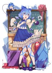 >:o 1girl :o ahoge black_shoes blue_bow blue_bowtie blue_eyes blue_hair blue_skirt book book_stack bow bowtie chalkboard character_doll check_commentary cirno commentary commentary_request ex-keine expressive_hair eyeball fang frog frozen hair_between_eyes hair_bow highres horn_ribbon horns ice ice_wings kamishirasawa_keine komeiji_koishi open_mouth puffy_short_sleeves puffy_sleeves red_ribbon ribbon ryuuno6 shoe_bow shoes short_hair short_sleeves skirt solo standing sweater_vest teacher tears touhou wings x_x