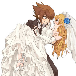 1boy 1girl bare_shoulders blonde_hair blush breasts brown_hair calma0 carrying couple detached_sleeves dress flower formal high_heels jewelry long_hair necklace necktie suit tenjouin_asuka veil wedding wedding_dress white_dress yu-gi-oh! yuu-gi-ou_gx yuuki_juudai