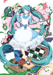 1girl ;d absurdly_long_hair absurdres alice_in_musicland_(vocaloid) alice_in_wonderland aqua_eyes aqua_hair book bow bunny cake card cat checkered cheshire_cat cookie cup flower food hair_bow hair_ornament hair_ribbon hairclip hatsune_miku highres long_hair looking_at_viewer one_eye_closed open_mouth playing_card pocket_watch ribbon rose smile sugar_sound teacup teapot twintails very_long_hair vocaloid watch white_rabbit
