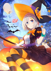 1girl absurdres akky_(akimi1127) alternate_costume animal bat black_dress blue_eyes breasts broom candy dress fang fang_out food frilled_sleeves frills full_moon hair_over_one_eye halloween hamakaze_(kantai_collection) hat hat_ribbon highres jack-o'-lantern kantai_collection large_breasts looking_at_viewer moon night night_sky no_legwear outdoors pump pumpkin ribbon short_dress short_hair silver_hair sitting sky striped striped_legwear thighhighs witch_hat