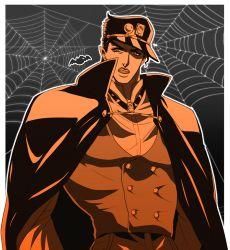 1boy bat cape fangs hat jojo_no_kimyou_na_bouken kuujou_joutarou male_focus monochrome pointy_ears sepia shooarashi silk solo spider_web upper_body vampire vest