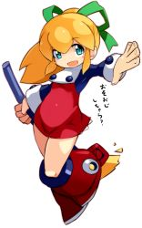 1girl blonde_hair blue_eyes blush_stickers broom female full_body hair_ribbon karukan_(monjya) open_mouth ponytail rockman rockman_(classic) roll simple_background solo white_background