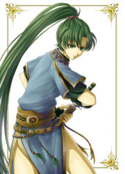 1girl delsaber fingerless_gloves fire_emblem fire_emblem:_rekka_no_ken gloves green_eyes green_hair hair_ornament long_hair looking_at_viewer lyndis_(fire_emblem) solo sword very_long_hair weapon