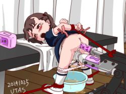 1girl anal_insertion animated animated_gif ass bdsm bent_over blush bondage brown_hair dress_lift flat_chest from_behind loli open_mouth panty_pull pussy pussy_juice restrained saliva stained_panties tears uncensored utas_(nijie) vibrator wet_panties