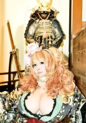 1girl asian breasts brown_eyes cleavage fat hoshima_mika huge_breasts orange_hair photo solo