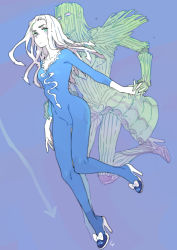 1girl aqua_eyes bodysuit bow breasts cleavage hand_holding higashikata_hato high_heels jojo_no_kimyou_na_bouken jojolion shoe_bow shoes stand_(jojo) toujou_sakana walking_heart_(stand)