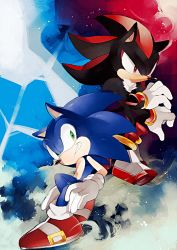 2boys frown gloves grin multiple_boys naoko_(juvenile) no_humans shadow_the_hedgehog shoes smile sneakers sonic sonic_the_hedgehog