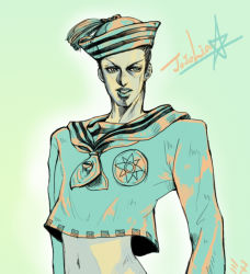 1boy dixie_cup_hat hat higashikata_jousuke_(jojolion) jojo_no_kimyou_na_bouken jojolion male midriff military_hat minoo_(prin888_elvion) sailor solo