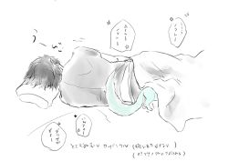 1boy bed black_hair blanket carbuncle_(final_fantasy) final_fantasy final_fantasy_xv lying male_focus noctis_lucis_caelum on_side pillow shirt sleeping soto_(20151217337) t-shirt tail translation_request trembling under_covers