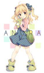 1girl blonde_hair brown_eyes chestnut_mouth dress frog hair_ribbon long_hair original polka_dot polka_dot_dress ribbon solo yamucha