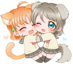 2girls ^_^ ahoge animal_ears bangs black_legwear blue_eyes bow bowtie cat_ears cat_tail cheek_press clover_hair_ornament dog_ears dog_tail double-breasted eyes_closed grey_hair hair_ornament heart kemonomimi_mode long_sleeves love_live! love_live!_sunshine!! miniskirt multiple_girls noramaru_(norarara821) one_eye_closed open_mouth orange_hair paws pleated_skirt red_bow red_bowtie school_uniform serafuku short_hair skirt smile tail takami_chika watanabe_you