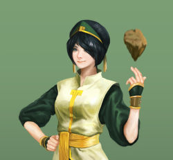 1girl avatar:_the_last_airbender avatar_(series) bangs black_hair bracelet hair_over_one_eye hand_on_hip highres hyun_sung_oh jewelry looking_at_viewer older realistic rock sash smile solo studded_bracelet swept_bangs toph_bei_fong upper_body