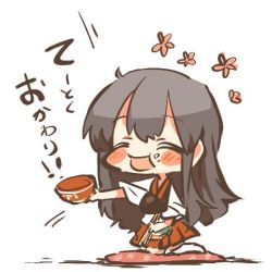 1girl akagi_(kantai_collection) blush bowl chibi chopsticks eyes_closed flower food food_on_face kantai_collection lowres open_mouth pillow rebecca_(keinelove) rice_bowl smile translation_request