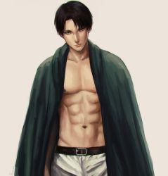 1boy abs belt black_hair cape kamille_areopagita levi_(shingeki_no_kyojin) muscle pants shingeki_no_kyojin shirtless short_hair simple_background