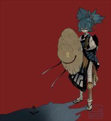 1boy artist_name bandage blue_hair flower hat l_hakase male_focus red_background sandals sayo_samonji shadow simple_background solo standing touken_ranbu twitter_username