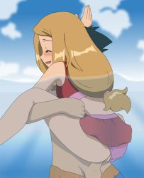 1boy 1girl ^_^ alternate_costume animated animated_gif anus ass bare_arms bare_shoulders beach bikini black_eyes black_hair blonde_hair blush clothed_sex clouds happy happy_sex hetero highres long_hair ocean open_mouth outdoors panties panties_aside partially_submerged penis pokemon pokemon_(anime) pokemon_xy pokemon_xy_(anime) satoshi_(pokemon) serena_(pokemon) sex shiny shorts skirt sky smile spread_legs standing standing_sex swimsuit swimwear testicles tongue uncensored underwear vaginal vaginal_penetration water