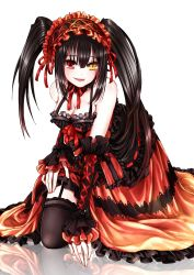 1girl bare_shoulders black_hair breasts cleavage clock_eyes date_a_live dress female garter_straps gothic hairband highres kneeling lolita_fashion lolita_hairband long_hair looking_at_viewer medium_breasts red_eyes ribbon skirt solo thighs tokisaki_kurumi tongue tongue_out twintails very_long_hair white_background yellow_eyes