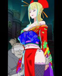 1girl bare_shoulders blonde_hair breasts cleavage eyes_closed japanese_clothes large_breasts long_hair make_up nancy_lee ninja_slayer screencap
