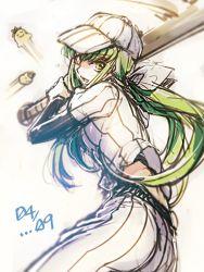 baseball_bat baseball_cap baseball_uniform c.c. cheese-kun code_geass creayus green_hair hat ponytail ribbon sportswear yellow_eyes