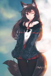 1girl adapted_costume animal_ears bare_shoulders black_legwear blouse brown_hair casual ehrrr fur_trim highres imaizumi_kagerou long_hair miniskirt off_shoulder one_eye_closed open_mouth pantyhose red_eyes red_skirt skirt solo tail touhou white_blouse wolf_ears wolf_tail