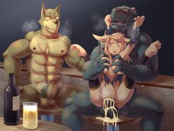 1girl 2boys artist_request breast_grab bull censored cum cum_in_pussy dog drooling forced furry monster_girl multiple_boys naughty_face penis pussy rape scar sex sheep vaginal