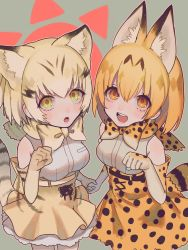 2girls :d :o absurdres animal_ears bare_shoulders blonde_hair bow bowtie breasts cat_ears cat_tail cowboy_shot cross-laced_clothes elbow_gloves eyelashes fang frilled_skirt frills gloves grey_background hair_between_eyes hand_holding highres kemono_friends kirudai lace looking_at_viewer looking_up medium_breasts multicolored_hair multiple_girls open_mouth orange_eyes orange_hair paw_pose pocket sand_cat_(kemono_friends) sanpaku serval_(kemono_friends) serval_ears serval_tail shirt short_hair sidelocks skirt sleeveless sleeveless_shirt smile striped_tail tail tareme teeth white_shirt yellow_eyes