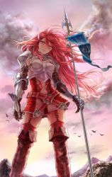 1girl aritst_request armor bird breastplate fire_emblem fire_emblem:_kakusei looking_at_viewer mountain red_eyes red_hair skirt solo spear sunrise tiamo