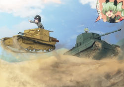 2girls anchovy angry black_hair bow braid brown_eyes carro_armato_p40 carro_veloce_cv-33 caterpillar_tracks cloud desert drill_hair dust_cloud girls_und_panzer goggles goggles_on_head green_hair hair_bow helmet jinguu_(4839ms) long_hair military military_vehicle multiple_girls multiple_views open_mouth pepperoni_(girls_und_panzer) pointing red_eyes sand side_braid sky speech_bubble tank twin_drills uniform vehicle