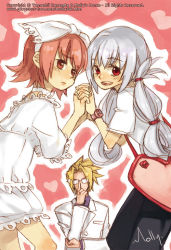 1boy 2girls :d adjusting_glasses bag bangs blonde_hair blush bow breasts choker cosplay costume_switch crossdressing embarrassed flipped_hair formal from_side glasses hair_bow hair_rings hair_tie hand_holding heart holding_arm interlocked_fingers iron_maiden_jeanne iron_maiden_jeanne_(cosplay) lace leaning_forward long_hair looking_at_viewer looking_back marco_lasso molly multiple_girls opaque_glasses open_mouth outline pants parted_lips pink_background pink_hair raised_eyebrows red_eyes shaman_king shirt short_hair short_sleeves sidelocks silver_hair sketch small_breasts smile sparkle spiked_hair standing suit tamamura_tamao tamamura_tamao_(cosplay) very_long_hair watch watermark web_address wristwatch