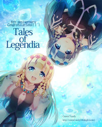 2girls blonde_hair blue_eyes blue_hair blush braid breasts copyright_name dress dual_persona flower hairband long_hair multiple_girls open_mouth rose shirley_fennes skirt tales_of_(series) tales_of_legendia tears water