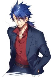 1boy blue_hair cigarette fate/prototype fate_(series) formal jewelry lancer_(fate/prototype) long_hair nakagawa_waka necklace one_eye_closed ponytail red_eyes solo suit