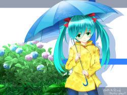 1girl 7ban aqua_hair bow flower green_eyes hair_bow hatsune_miku hydrangea long_hair long_sleeves looking_at_viewer raincoat solo twintails umbrella very_long_hair vocaloid