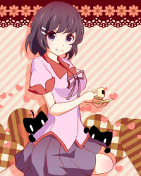 1girl black_hair cat cup hanekawa_tsubasa minarai_follower monogatari_(series) purple_eyes school_uniform short_hair solo teacup
