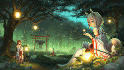 3girls animal_ears bare_shoulders black_hair blue_eyes brown_hair detached_sleeves forest fox_ears fox_tail grey_hair hakama hakama_skirt highres holding japanese_clothes lantern light_particles long_hair low_twintails marsh miko multiple_girls nature night original outdoors parted_lips pinakes plant ribbon-trimmed_legwear ribbon-trimmed_sleeves ribbon_trim rock sandals shrine sitting socks standing tail thighhighs torii tree twintails water white_legwear wide_sleeves