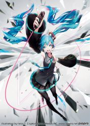 1girl aqua_eyes aqua_hair artist_name copyright_name detached_sleeves hatsune_miku headset highres long_hair necktie official_art open_mouth solo thighhighs twintails very_long_hair vocaloid yucca-612